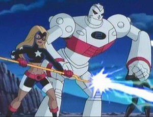 "Pat Dugan - S.T.R.I.P.E. with Stargirl, as featured in the Justice League Unlimited episode, ""Dark Heart""."