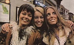 Take Three Girls - Carolyn Seymour (left), Liza Goddard and Barra Grant (right) - the leading players in series two outside Holland Park station