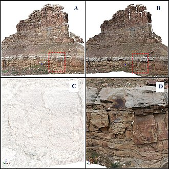 Digital outcrop model - Figure 1. An example of a digital outcrop model, Woodside Canyon, Utah, USA. Top: an overview of a DOM in a form of a coloured point cloud (A) and a textured model (B). Area marked in red enlarged showed in C and D. Bottom: A coloured point cloud (C) and a textured model (D) seen from a closer distance.