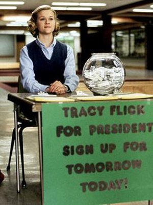 Tracy Flick - Witherspoon as Tracy, greeting students during her election campaign