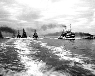 "Arthur Foss - Annual tugboat races have long been held at Puget Sound ports, but became more popular after the success of ""Tugboat Annie"". After its 1934 rebuild, Arthur Foss (second from right) was always the favorite and frequent winner, capable of up to 13 knots. This photograph was taken in 1940 on Commencement Bay."