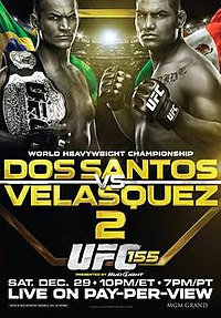 A poster or logo for UFC 155: dos Santos vs. Velasquez 2.