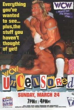 Uncensored (1996) - Promotional poster featuring Lex Luger, Randy Savage and Randy Anderson