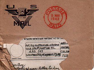 V-mail - V-mail envelope with V-mail symbol, March 1943
