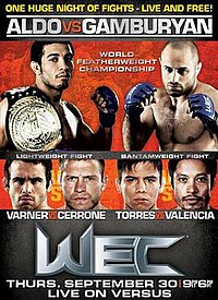 A poster or logo for WEC 51: Aldo vs. Gamburyan.