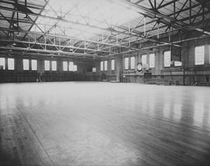 Wills Gymnasium - Interior of the playing floor in 1934 showing windows and skylight