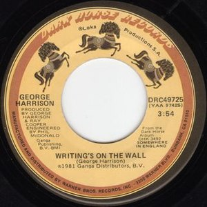 Writing's on the Wall (George Harrison song) - Image: Writing's on the Wall 1981 US single label