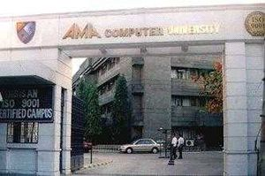 AMA Computer University - University Entrance gate in Quezon City