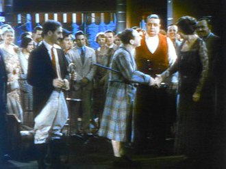 Animal Crackers (1930 film) - Multicolor frame from a scene rehearsal (Harpo in robe and without wig)