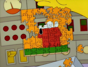 Burns, Baby Burns - Homer's Snoopy puzzle, designed with the nose missing to avoid copyright laws