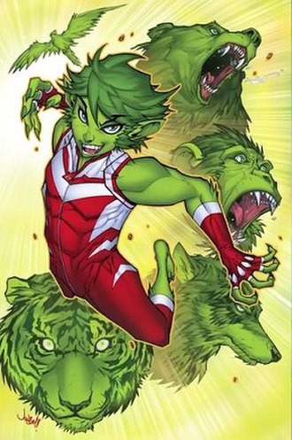 Beast Boy - Promotional art for Teen Titans' DC Rebirth line. Art by Jonboy Meyers