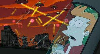 Futurama: Bender's Big Score - Bender destroys New York while being pursued by Swedish authorities in 2308, one of the many moments of continuity with previous episodes.