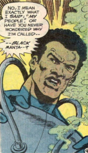 Black Manta, without his mask. Art by Jim Aparo.