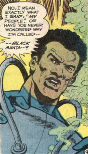 Black Manta - Black Manta, without his mask. Art by Jim Aparo.