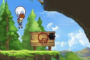 "A Boy and His Blob - The ""blob"" is capable of a number of transformations in order to traverse the game's puzzles, such as a parachute to avoid damage from falls."