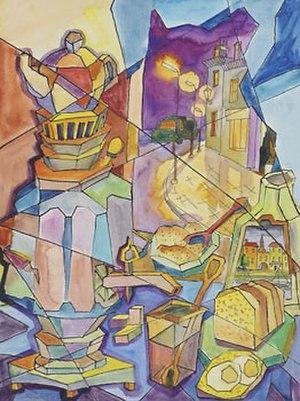 "Boris Smirnoff - ""Still life with samovar and bread"", watercolour painted by Boris Smirnoff"