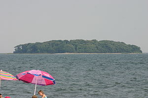 Charles Island - Charles Island at High Tide from Silver Sands. Summer 2006