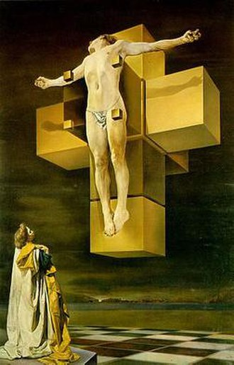 Mathematics and art - Salvador Dalí, Crucifixion (Corpus Hypercubus), 1954, (with the net of an unfolded hypercube, representing the divine perspective with four dimensions), oil on canvas, 194.3 × 123.8 cm, Metropolitan Museum of Art, New York