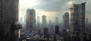 "Dredd - Final art of the city by VFX art director Neil Miller; Peach Trees is on the left. The ""micro-city state""-like towers were gradually positioned further apart to emphasise their size and allow for a more detailed city to exist between them, highlighting the scale of Mega-City One."
