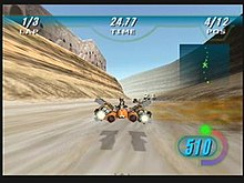 Across the top race statistics are featured in a heads up display. Sebulba's podracer is featured in the center of the screen, spewing a flame from its side. A desert world is the racing environment.