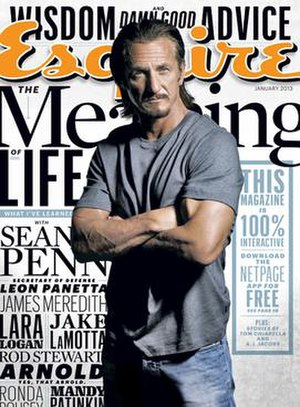 Esquire (magazine) - The cover of the January 2013 issue featuring Sean Penn