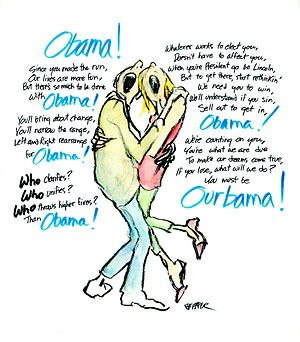 "Jules Feiffer - Feiffer's post-nomination ""Obama"" cartoon from The Village Voice (2008)"