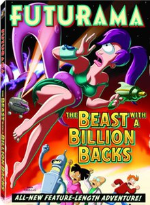 "Cartoon image of purple tentacles coming from bright tear in the red sky. The tentacles hold Leela in the air. Below, other characters shake fists in anger, while Fry runs away. The text reads ""Futurama: The Beast with a Billion Backs. All new feature-length adventure!"""