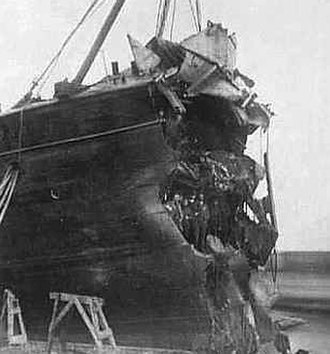 SS Arizona - Arizona's bow after her 1879 collision with an iceberg.