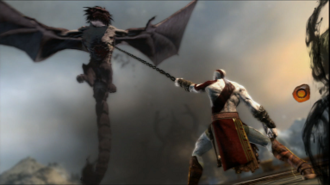 God of War: Ascension - Kratos battles the manticore at the Tower of Delphi. The screenshot demonstrates the new tethering mechanic; it is being used in conjunction with the QTE mechanic.
