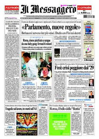 Il Messaggero - Front page (Rome edition), 3 October 2008