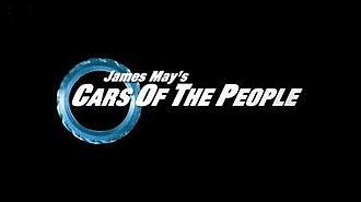 """James May's Cars of the People - Title card. International variations feature a second logo beneath which reads: """"A BBC Top Gear special."""""""