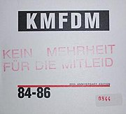 The cover of 84-86, featuring the original stamp used by KMFDM in 1984.