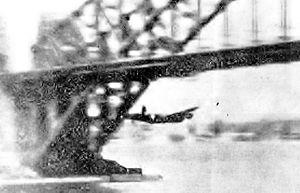 Peter Isaacson - Lancaster Q-for-Queenie flies under Sydney Harbour Bridge, 22 October 1943