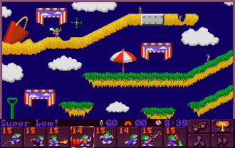 Lemmings 2: The Tribes - Level 1 of the Beach tribe. Tanned beach bum lemmings can be seen walking about. The upper left one has just been made a SuperLem, while the one to the far right has been given the permanent skill of Runner