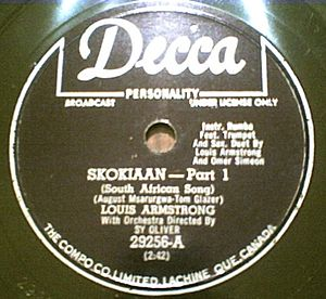 "Skokiaan - 78 rpm record of Louis Armstrong's 1954 ""Skokiaan"" recording (part 1 of 2)."