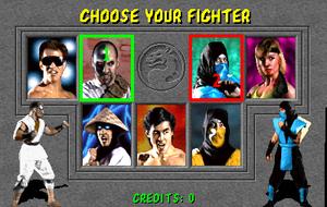 Mortal Kombat (1992 video game) - Mortal Kombat character selection screen, showing Kano and Sub-Zero