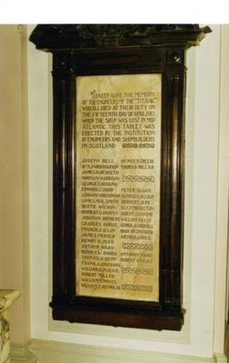 Institution of Engineers and Shipbuilders in Scotland - Titanic Memorial in Glasgow