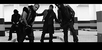 Mercy (GOOD Music song) - Kanye West, Big Sean, Pusha T and 2 Chainz standing at the end of the video.