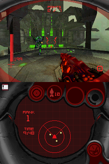 Two screens appear, one above the other. Above, a weapon is pointed outwards, facing an opponent. Below, a radar is shown.