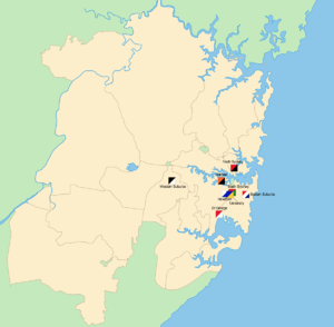 1932 NSWRFL season - The geographical locations of the teams that contested the 1932 premiership across Sydney.