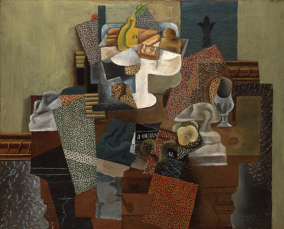 Pablo Picasso, 1914-15, Nature morte au compotier (Still Life with Compote and Glass), oil on canvas, 63.5 x 78.7 cm (25 x 31 in), Columbus Museum of Art, Ohio