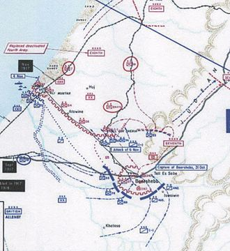 Third Battle of Gaza - Positions on the Gaza-Beersheba line after the capture of Beersheba