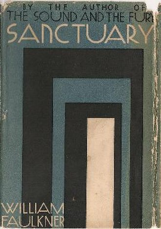 Sanctuary (Faulkner novel) - First edition cover. An alternate cover features shades of brown instead of blue.
