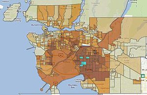 Ethnoburb - Geographic distribution of residents of South Asian ancestry in Greater Vancouver