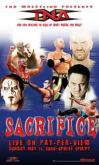A poster with a red logo saying Sacrifice. Poster also features three white and one Samoan adult males posing in several different manners.