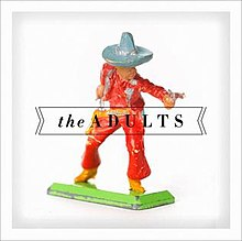 The cover of The Adults album showing a macro photo of an old cowboy toy.