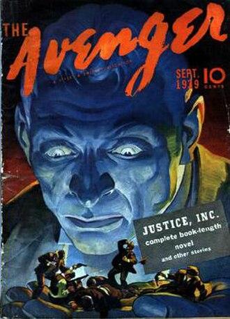 Avenger (pulp-magazine character) - The Avenger – Justice Inc. (Sep. 1939) Art by H. W. Scott.