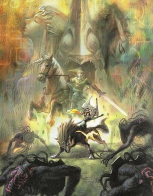 Link (The Legend of Zelda) - Twilight Princess artwork, showing Link riding on his horse, Epona, and Midna Riding his wolf form