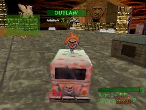 Twisted Metal (1995 video game) - An example of gameplay in Twisted Metal featuring Sweet Tooth in the Rooftop Combat stage