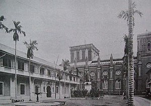 History of the University of Santo Tomas - The Benavides Monument facing the University of Santo Tomas building in Intramuros.